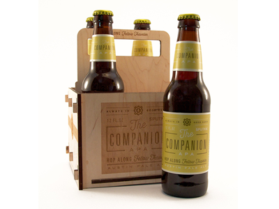 The Companion beer packaging label bottle brew laser cut wood