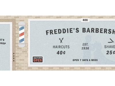 Freddie's Barbershop - Franklin Hero barbershop haircuts shave storefront fonts.com franklin
