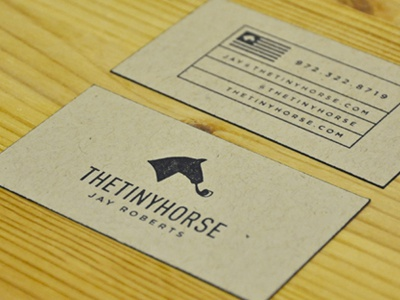 thetinyhorse Business Cards business card identity french paper stamp collateral black kraft