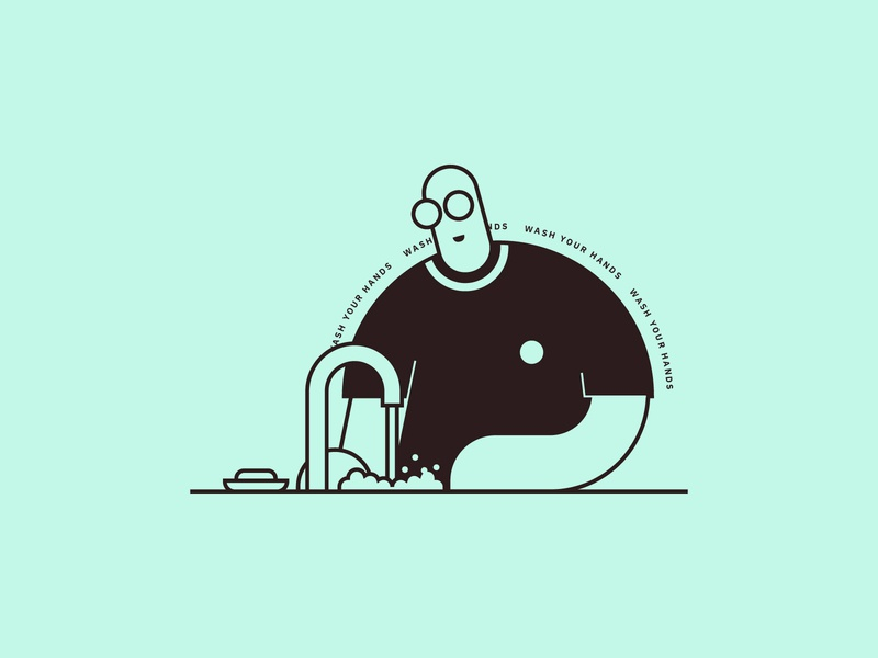 Wash Your Hands vibrant soap water tap minimalist line art art flat drawing wash your hands stayhome covid-19 branding illustration