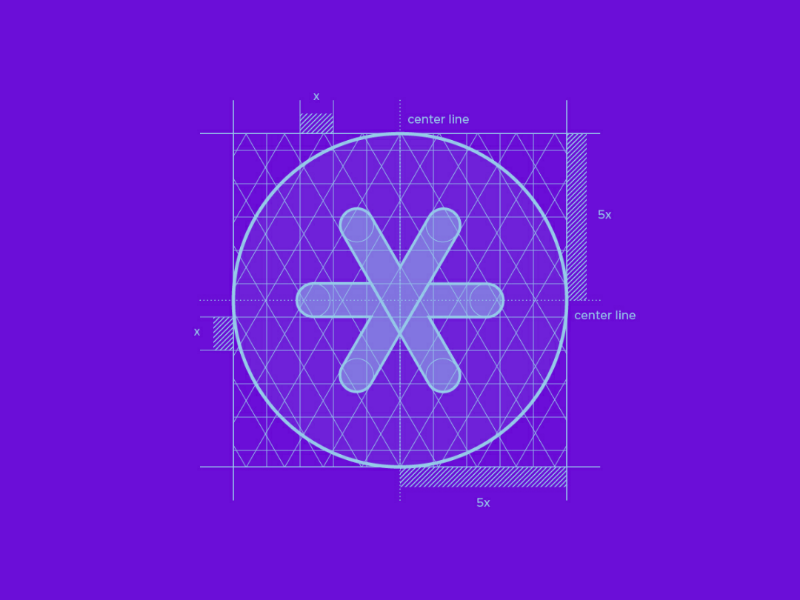 Frintern Rebrand - Grid ux ui illustrator logomark icon circle branding rebrand identity design purple grid logo brand design
