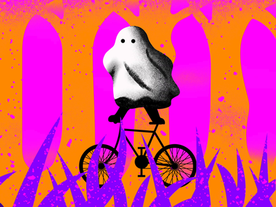 Ghosty got it! after effects illustration forest bike ghost animation procreate