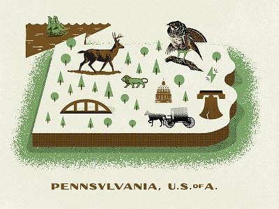 PA Map pittsburgh amish philadelphia deer screenprint texture pennsylvania icons illustration