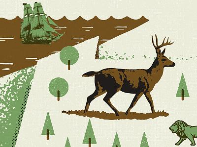 PA Map Detail 1 trees erie lake pa flagship deer tree texture illustration