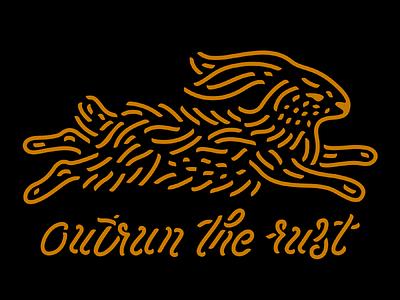 Outrun the Rust stencil script type illustration rust outrun rabbit