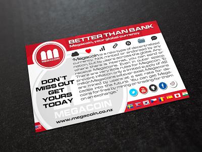 Megacoin promotion bank logo visualization art digital product print design print flyer design flyer design concept