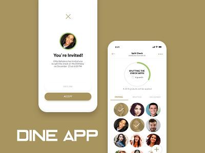 Dine App share restaurant friends food photoshop user flow prototype wireframe information architecture app apps application app testing user center design user research ui ux