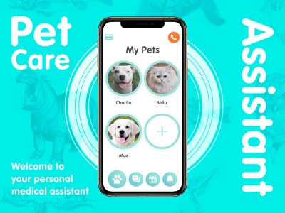 PetCare App behance inspiration 2018 app apps application template development programming adobe photoshop sketch research medicine veterinary animal care pets medical prototype ui ux ios