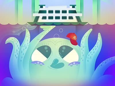 Tacoma Is Where The Heart Is (Re-upload) washington seattle tacoma octopus vector cartoon illustration