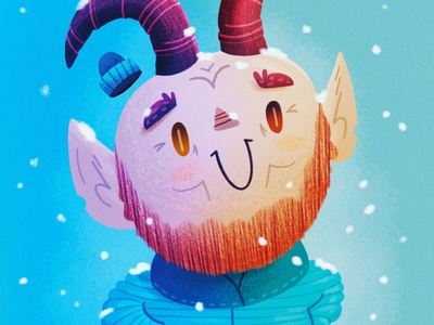 2020 Holiday Card snow holiday card texture cartoon illustration krampus