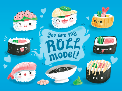 Drum Roll Please ginger postcard texture cartoon illustration sushi