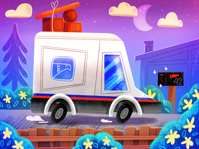 USPS Truck night shipping vehicle package texture illustration