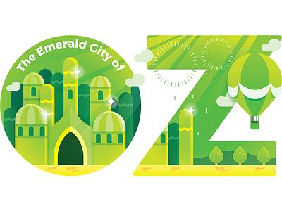 Travel Sticker - Emerald City of Oz somewhere over the rainbow wizard of oz dorothy vector cartoon illustration