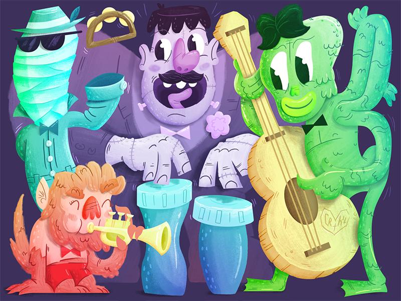 Monster Band - Variant creature from the black lagoon invisible man werewolf frankenstein cartoon illustration