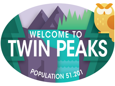 Travel Sticker - Twin Peaks papercraft agent cooper vector illustration