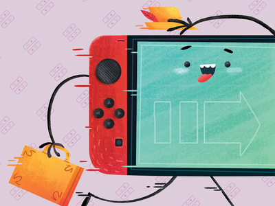Nintendo Switch - On the move videogames device cartoon inspiration illustration