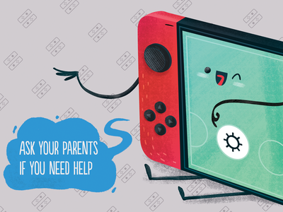 Nintendo Switch - Setup videogames device cartoon inspiration illustration