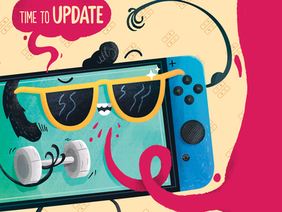 Nintendo Switch - Update videogames device cartoon inspiration illustration