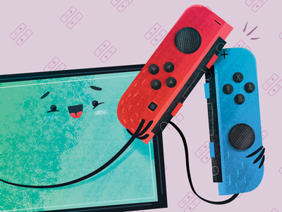 Nintendo Switch - Joycons videogames device cartoon inspiration illustration