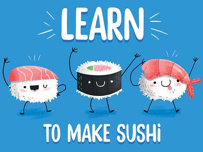 Christmas Sushi california roll shrimp food cartoon inspiration illustration