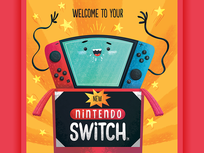 Nintendo Switch - Cover book videogames device cartoon inspiration illustration