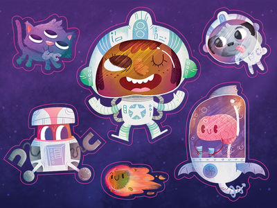 Adventurers - Space Stickers comet robot brain sticker texture sci fi space cartoon illustration