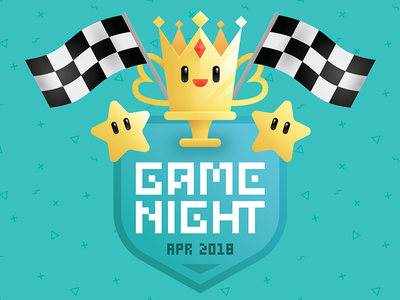 Game Night - April 2018 vector star racing kart games mariokart sticker illustration