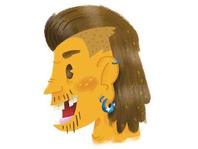 Mullet Sticker texture business in front hair mullet cartoon illustration