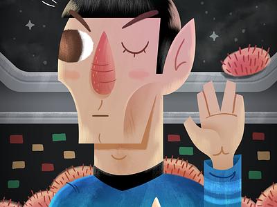 Spock & Spock tribbles evil twin star trek texture cartoon illustration