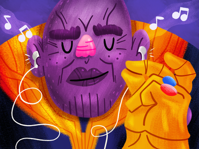 Some Thanos Time ipad superhero snap to the beat thanos avengers illustration
