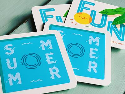 Summer Fun - Pin Backing vector cartoon swag pin illustration