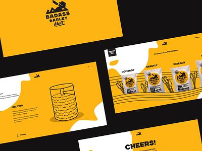 Badass Barley Malt ecommerce illustration branding website typography layout art direction ui design