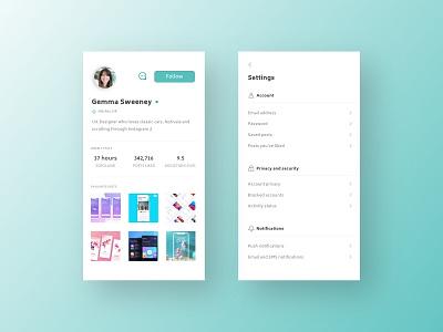 Daily UI #006 #007 - User profile and settings settings profile design ux ui sketchapp dailyui