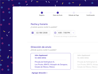 Confetti - Payment date address payment ui