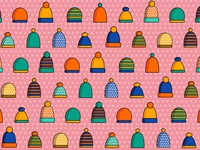 Pattern with winter hats