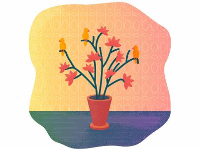 Flovers & birds sketch warm warm colors birds card colorful design colorful art vector illustrator illustration design