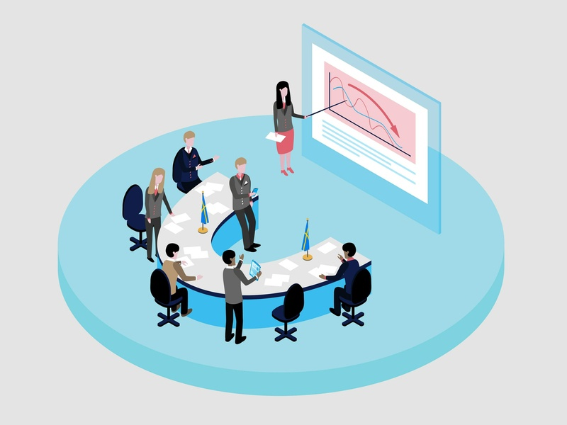 Isometric illustration - conference banner branding isometric card colorful design colorful art vector illustrator illustration design