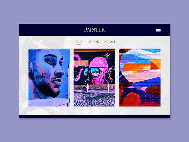 Exploration ~ Painter landing page artwork artist painter web design