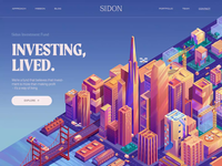S I D O N ethical investing sustainable investment animated transition interactions transition investing investment san francisco illustration investment fund landing page animated city illustration city illustration motion ui animation
