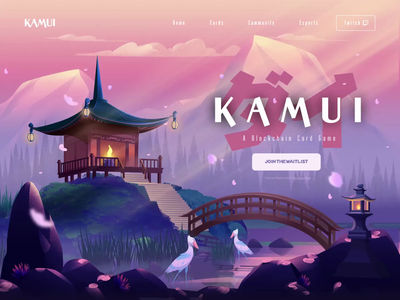 K A M U I animated transition parallax ui nature yokai japan animation landing page card game cryptocurrency crypto blockchain non-fungible token crypto-collectibles