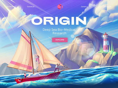 Origin scientific research science submarine deep sea ship yacht boats fish underwater ocean sea nature mountain illustration landing page animated transition ux motion ui animation