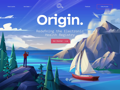 Origin2 nature nautical electronic health registry boat mountain illustration parallax landing page motion ui animation