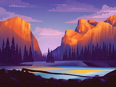 Yosemite/EPI1 epicurrence nature sunrise sunset purple mountains illustration yosemite