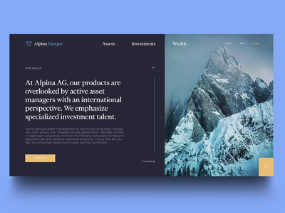 alpina banque investments payments payment service mountain parallax landing page motion animation bank ui