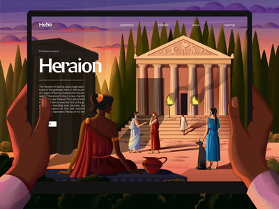 H E B E tablet tourists temple motion transition illustration landing page greece ar augmented reality ui animation