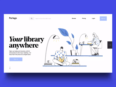 Perlego 2 textbook students library books parallax illustration landing page animated transition gif motion animation ui