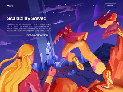 M I U R A sharding scalability scaling blockchain illustration landing page animated transition motion animation ui