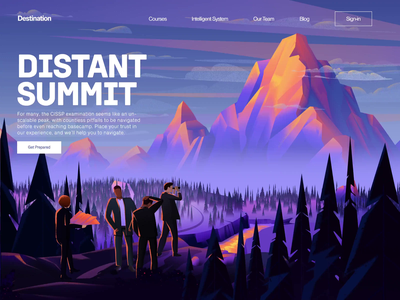 D E S T I N A T I O N climb journey instruction teaching courses ccsp cissp illustration ux ui mountain transition parallax landing page animated transition motion animation