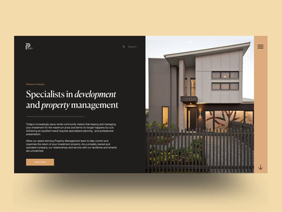P A R T N E R property developer development management site acquisitions property management real estate property transition landing page motion animation ui