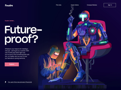 Foudre mechanisms welding cyborg careers future proof job site ai robotics robot transition illustration landing page motion animation ui